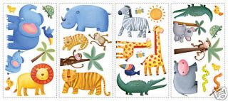 JUNGLE WiLd ANIMALS 29 BiG Vinyl Wall STICKERS Kids Zoo Room Decor