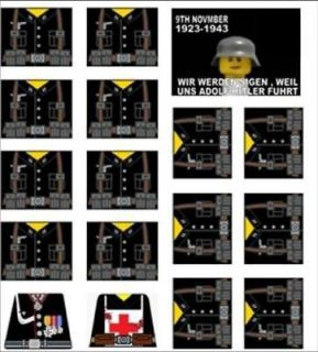 Lego WW2 German Soldiers Sticker Decals + extras black