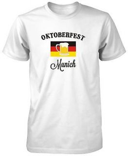 Mens White Fruit Loom Oktoberfest Germany Deutschland Flag Beer