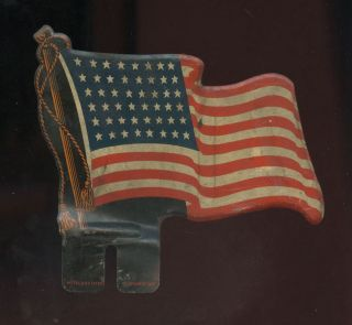 ANTIQUE VINTAGE 48 STAR AMERICAN FLAG Metal LICENSE PLATE TOPPER