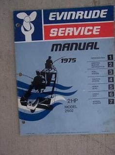 Outboard Motor Service Manual 2 HP Model 2502 Marine Boat Engine H