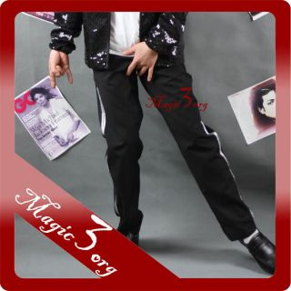 Michael Jackson Billie Jean Black Pants w/ Silver Bar MJ Costume
