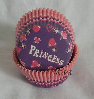 100 purple pink princess Cupcake liners baking paper cup muffin case
