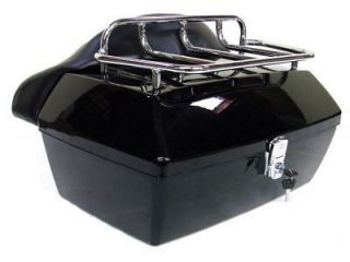 BLACK MOTORCYCLE TRUNK TAIL BOX LUGGAGE W/ TOP RACK BACKREST FOR