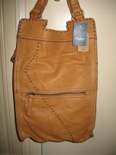 NWT Lucky Brand Leather ABBEY ROAD FOLDED TOTE X BODY BAG Dune