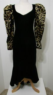 Vintage Dave & Johnny Black Puff Sleeve Gold Sequin Long Gown W/Flared