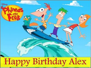 A4 Personalised Phineas and Ferb Edible Icing Cake Top Topper Fast