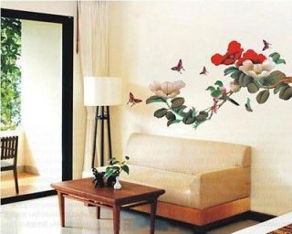 JAPANESE FLOWER TREE BIRDS Butterflies WALL DECO MURAL STICKER DECAL