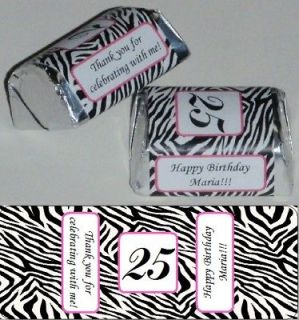 ZEBRA PRINT BIRTHDAY PARTY CANDY NUGGET WRAPPERS PERSONALIZED FAVORS