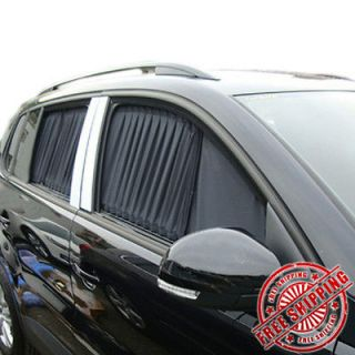 LUXURY BLACK AUTO CAR REAR WINDOW CURTAINS SUNSHADE VALANCE VISOR