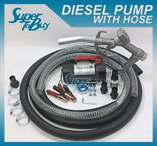 12V Portable Cast Iron Fuel Transfer Pump With Nozzle And 12 Hose For