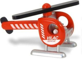 Vilac Kids Wooden Toy Fire Department Helicopter Propeller Removable