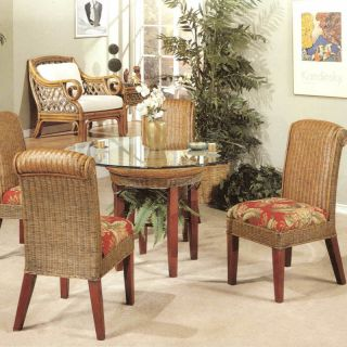 Panama Rattan Wicker Dining Chair Table 5 piece Set