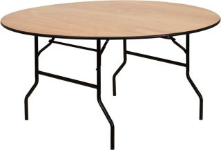 60 Round Wood Folding Banquet Dining Table with Clear Coated Top   Set