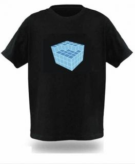 Cube EL LED Graphic Equalizer T Shirt sound activated for disco JG2L