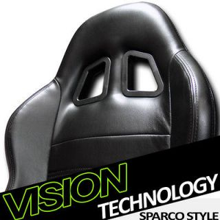 SP Style V2 Black PVC Leather Sport Racing Bucket Seat+Sliders BMW