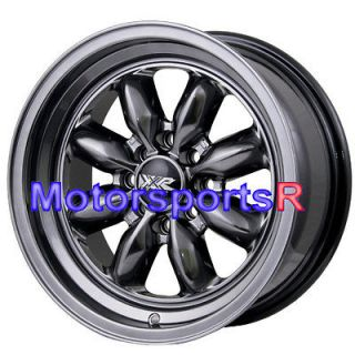 15 15x7 XXR 513 Chromium Black Rims Wheels Deep Dish Step Lip 4x114.3