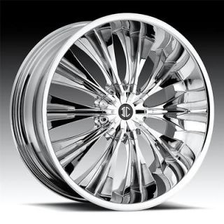 22 inch 2Crave H3 Chrome Wheels Rims 5x115 300C Charger Magnum