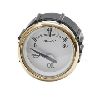 FARIA GP7771B NEWPORT GOLD SERIES 2 INCH WHITE OIL PRESSURE BOAT GAUGE