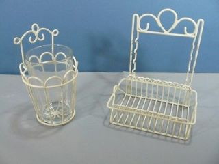 Wire & Glass Toothbrush Holder NEW Plastic Coated w/ Glass Tumbler