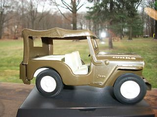 VINTAGE TONKA TOY METAL USA MILITARY ARMY JEEP WITH CANOPY COLLECTABLE