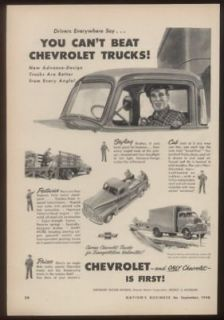 1948 Chevrolet pickup stake bed cab over truck print ad