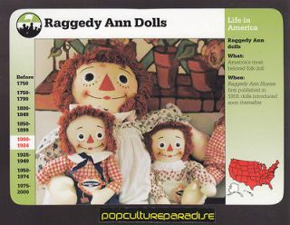 RAGGEDY ANN AND ANDY DOLLS Grolier History PICTURE CARD