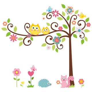 Owl Tree Animal Wall Sticker Decal Removable Kids Children Nursery