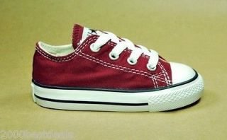 CONVERSE ALL STAR LOW INFANT SIZE MAROON WHITE FASHION STYLE BOY SHOES