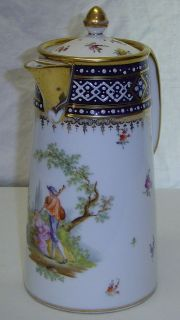 Antique Royal Vienna Beehive Mark Hand Painted Porcelain Chocolate Pot
