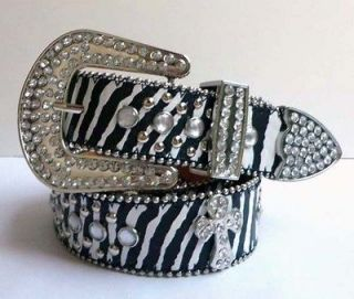 Brand New Cowgirl Western Rhinestone Leather Belt Zebra Cross Studded