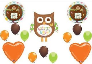 Whoo Loves You Owl Baby Shower Balloons Decorations Supplies ORANGE