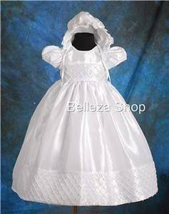 White Baby Girls Christening Gown Dress SZ 6mo 9mo FG027