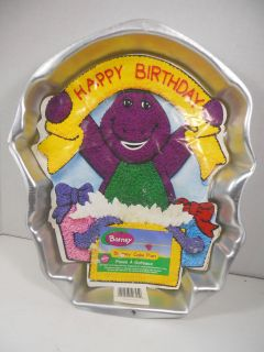 LYONS GROUP BARNEY DINOSAUR HAPPY BIRTHDAY CAKE PAN ALUMINUM WILTON