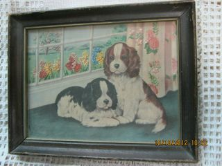 Vintage English Setter Dogs Puppies Print w Embroidery Framed 9.25 x 7