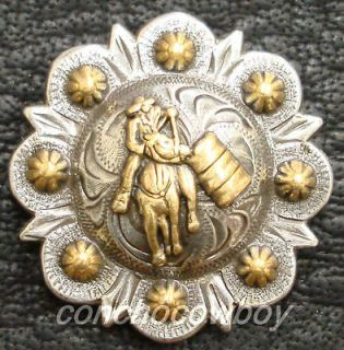 Set of 6 WESTERN GOLD BARREL RACER BERRY CONCHOS 1 inch