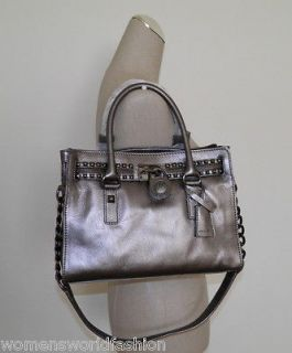 NWT Michael Kors Gunmetal Leather Hamilton Rock & Roll EW Satchel