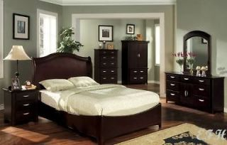 NEW BLACKBURN CONTEMPORARY BLACK CHERRY WOOD QUEEN BED