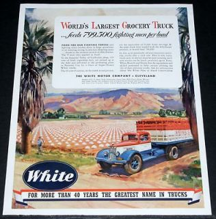 1943 OLD WWII MAGAZINE PRINT AD, WHITE TRUCKS & IMPERIAL VALLEY