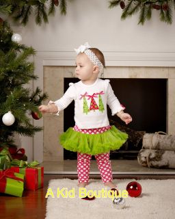 Mud Pie Christmas Baby Girls Triple Tree Top & Tutu Legging 0   18M
