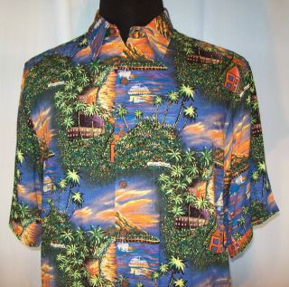 rare REYN SPOONER Guy Buffet Collection SHIRT mens M Hawaiian Sunset