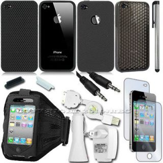 14 Accessory Bundle for Apple iPhone 4 Case Charger Holder Protector