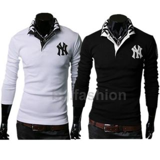 Mens Casual Slim Fit Formal Luxury Stylish NY Polo T Shirts Tops 3
