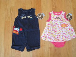Twin boy girl blue shortalls & pink dress set NWT 3m 6m