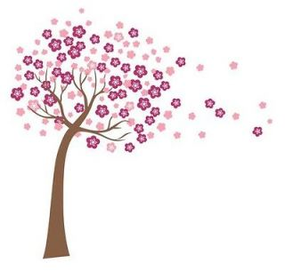 Giant Pink Cherry Blossom Flowers Tree Wall Stickers Art Mural Nursery