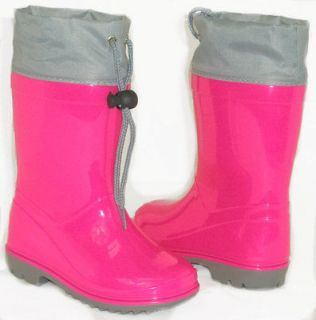 CUTE Girls Kids Flat GALOSHES WELLIES RUBBER RAIN Boot PINK GRAY