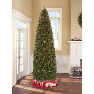 12 Ft Tall Pine Christmas Tree Pre Lit Artificial 1,200 Clear Lights