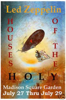 Rock Led Zeppelin at Houses Of Holy NY Concert Poster Circa 1973