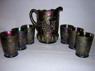 1930s NORTHWOOD 6 pc Amethyst GRAPE + CABLE Design WATER PITCHER