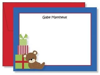 Personalized FLAT Teddy Bear & Gifts Christmas Thank You Note Cards